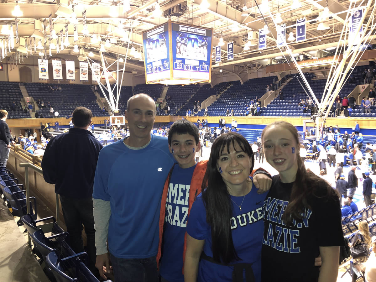 Shawn Fields and family in Cameron Indoor Stadium