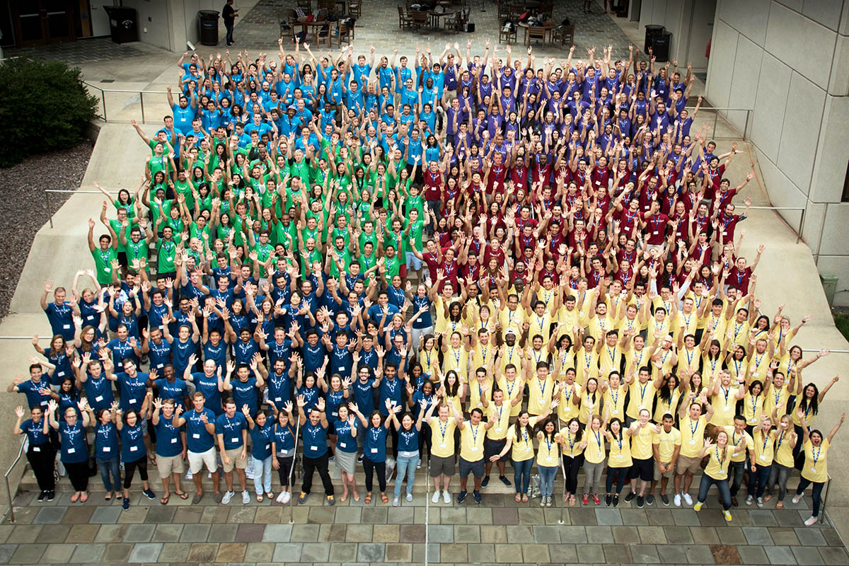 400-plus Daytime MBA students divided into their 6 sections for a group shot during orientation