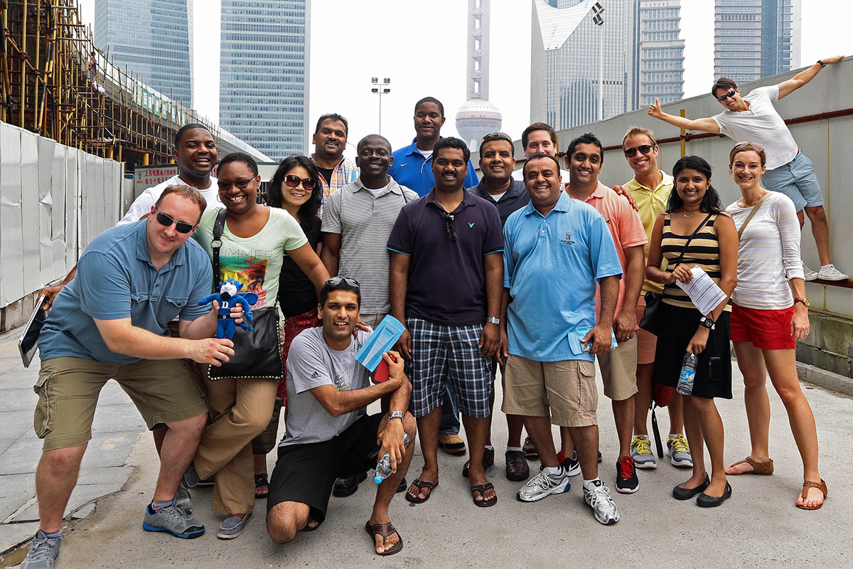 EMBA students posing for a group photo in Shanghai