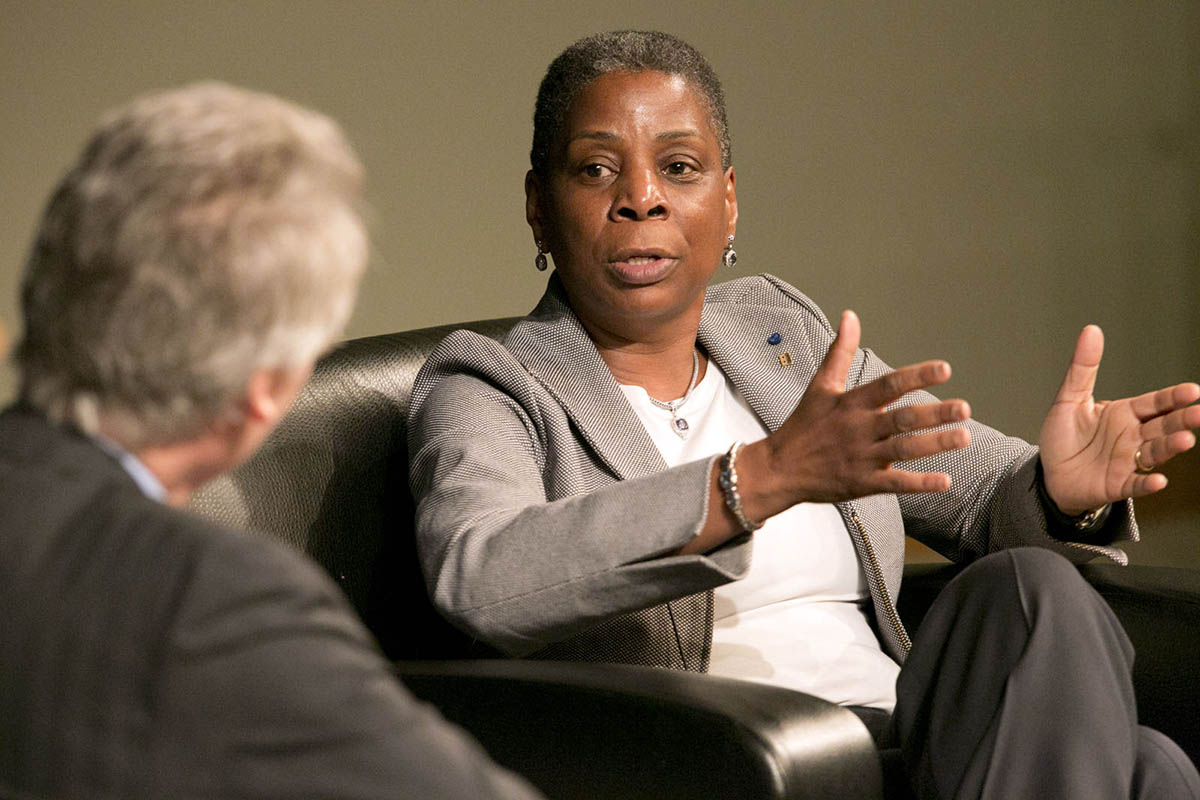 Xerox CEO Ursula Burns talking to Dean Bill Boulding during a Fuqua Distinguished Speaker Series event