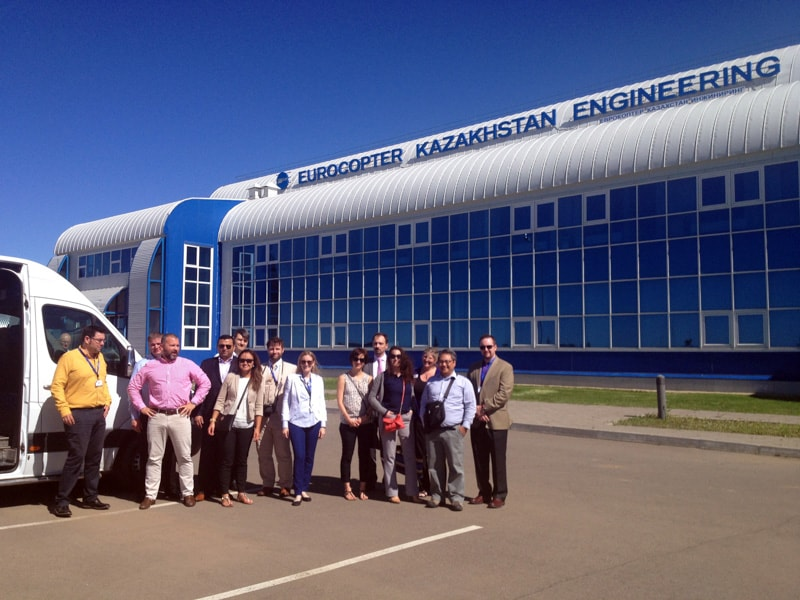 Students arriving to Eurocopter facilities in Astana
