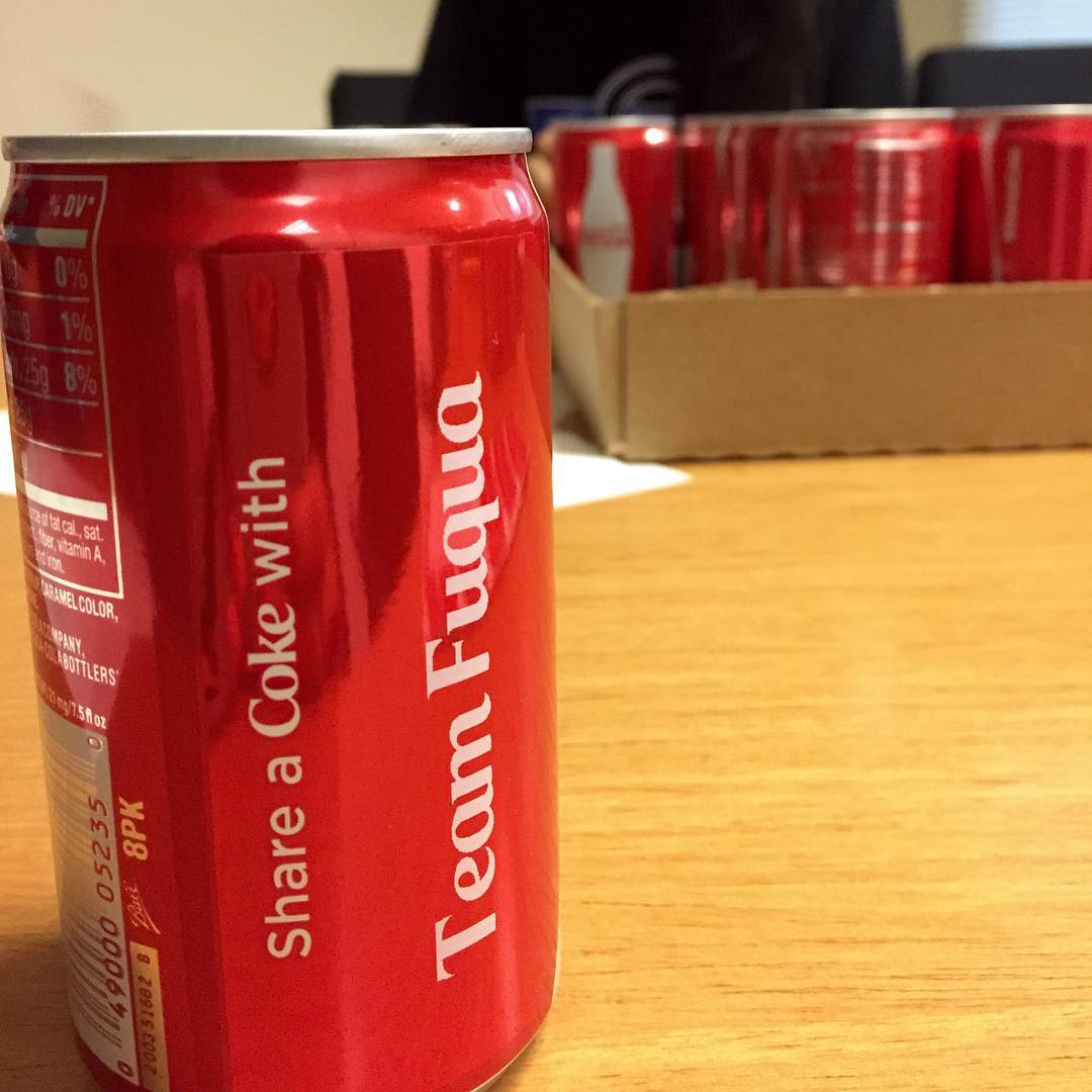 Custom can of Coke branded Team Fuqua