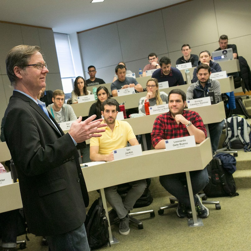 Professor Campbell Harvey teaches blockchain in the Innovation and Cryptoventures course at Duke University's Fuqua School of Business