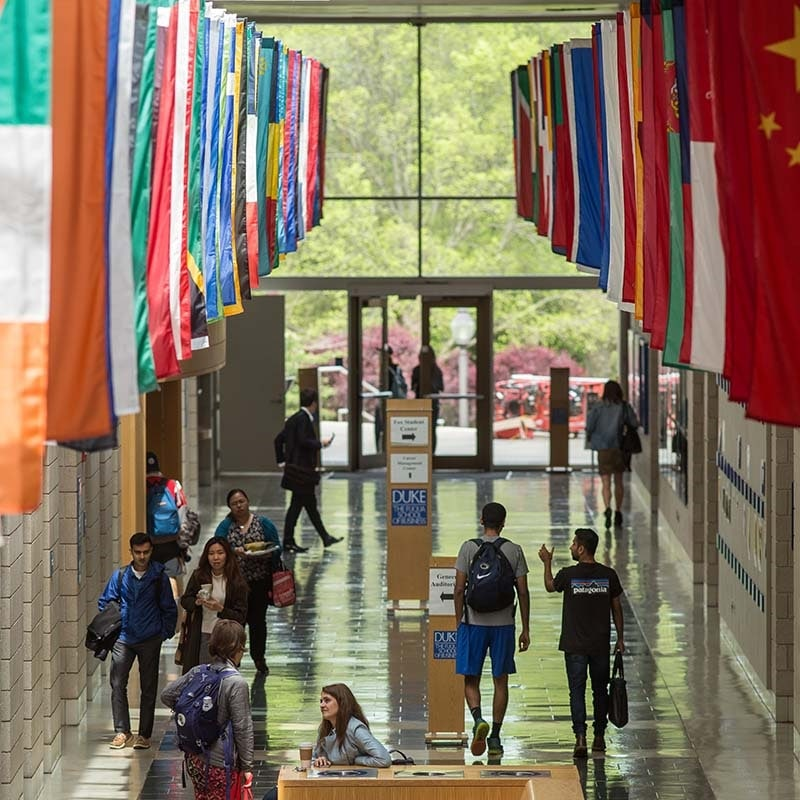 Hall of flags at Fuqua School of Business