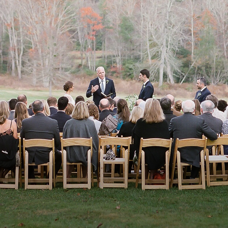 Associate Dean Russ Morgan officiated at the wedding of two Fuqua Alumni