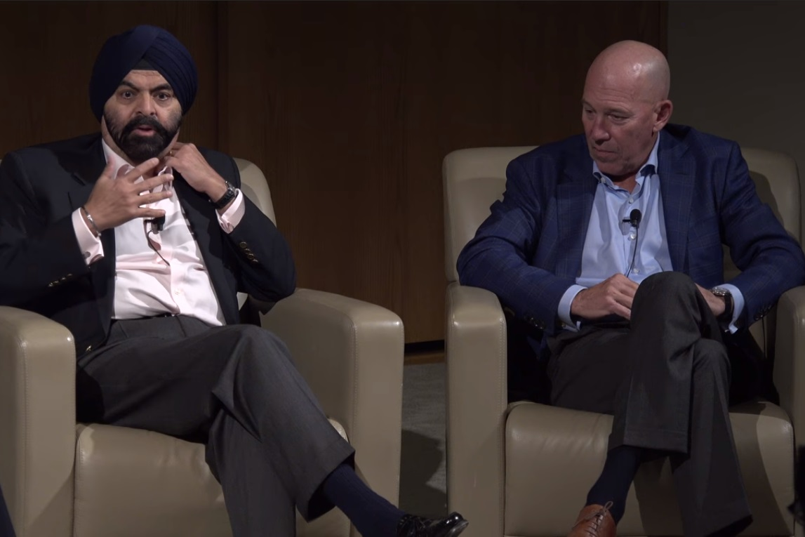 MasterCard CEO Ajay Banga and Citi Cards CEO Jud Linville visited Fuqua to talk leadership