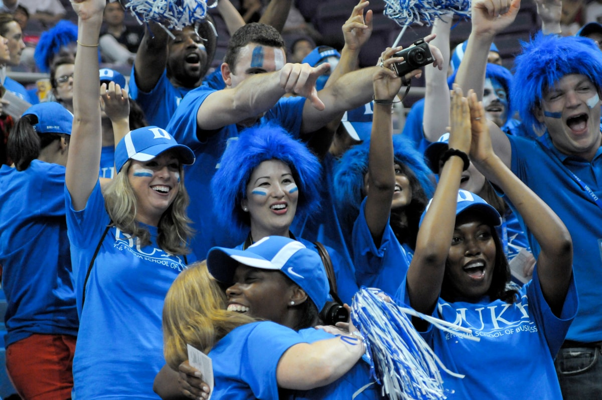 Fuqua students at a basketball game