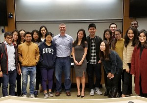 Students with senior VP of Bank of America